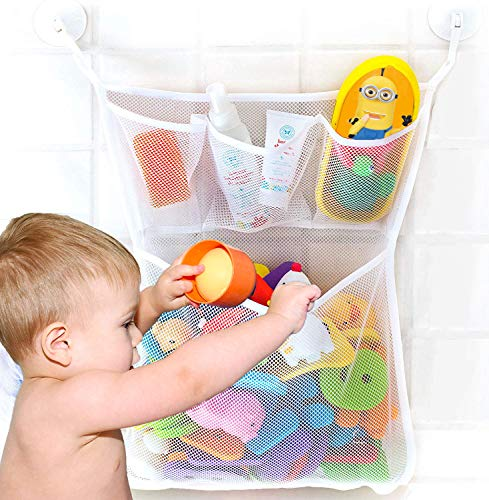 Bathtub Toy Organizer, Extra Durable Washable Quick Dry Mesh Bath Toy Organizer, Bathroom Toy Storage Mesh Bag for Kids, Tub Toy Net Holder with 2 Suction Cup Hooks, Cute Baby Shower Gift