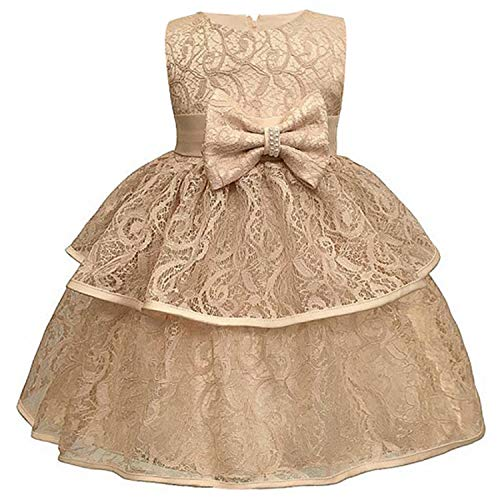 (Baby Girls Dress 0-24 Month Baby Lace Baptism Princess Sleeveless Baby Girls 1St Year Birthday Dress Birthday Party Vestido Champagne)