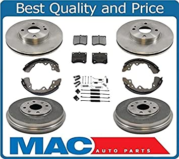 Rotors w//Ceramic Pads OE Brakes Front + Rear 1997-2003 Ford Escort