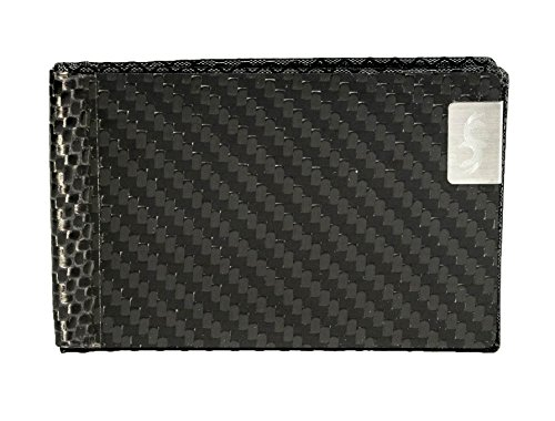 Red Common Slim Biz Protection Holder Fiber Real Black RFID Credit Mens Business with Card Card Fibers Carbon ErqxEZS