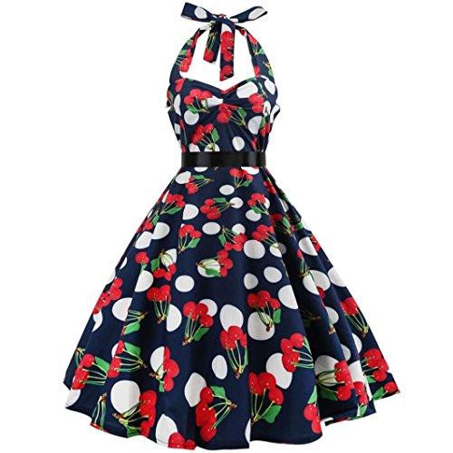 Women Vintage Dress, Halter Sleeveless Evening Party Valentine's -