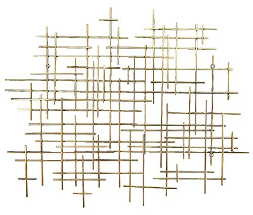 Bellaa 27079 Metal Wall Art Geometric Abstract Modern Cross Gold Décor 36.5x32x1.5 inches (Light Golden, 36.5x32x1.5)