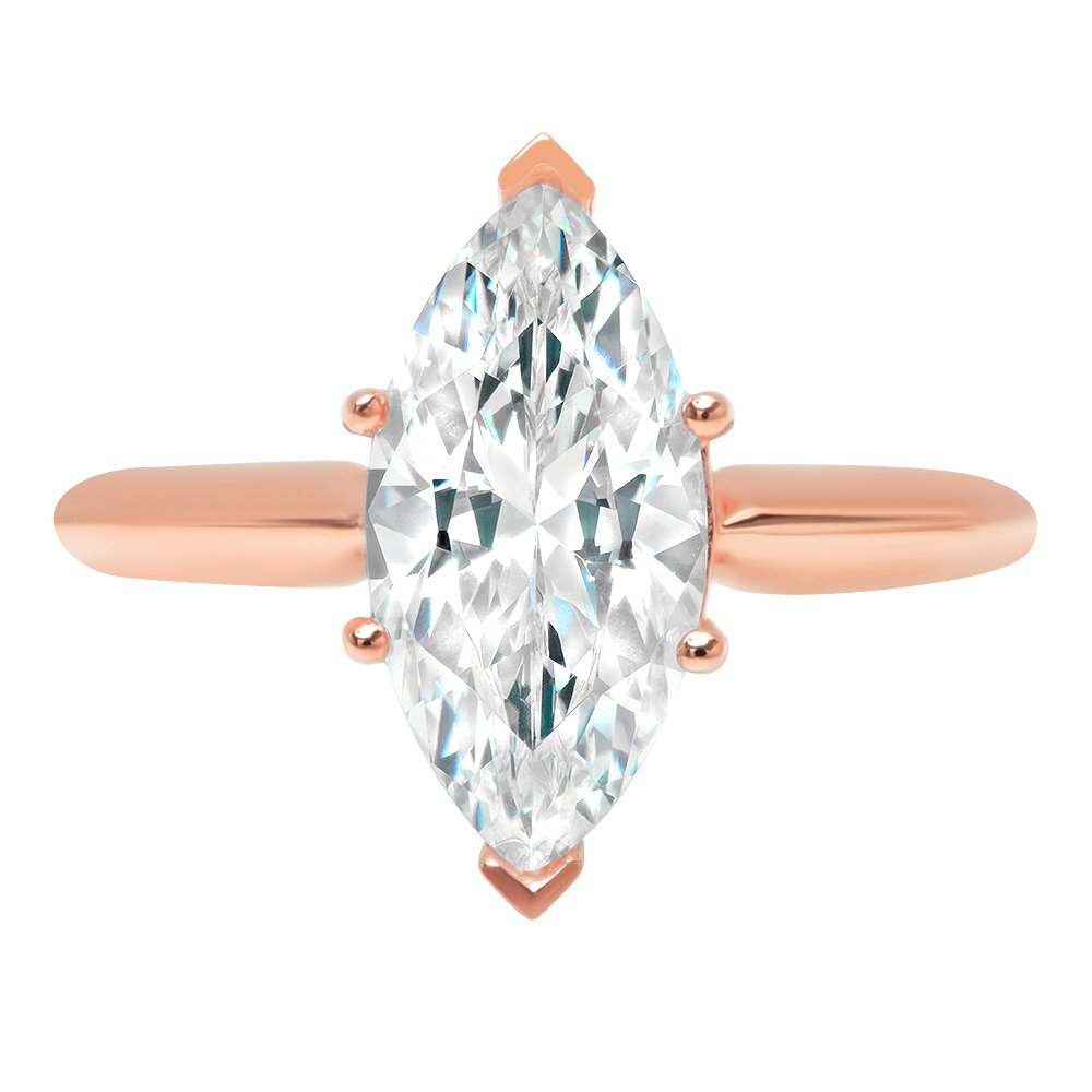 2.4ct Marquise Brilliant Cut Classic Solitaire Designer Wedding Bridal Statement Anniversary Engagement Promise Ring Solid 14k Rose Gold, 9.75