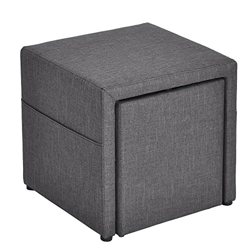 HOMY CASA 17'' Storage Ottoman w/Pull Out Drawer & Side Pocket - Gray Linen - Square Foot Rest Stool, Small Cube Table Ottomans by HOMY CASA (Image #9)