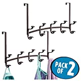 mDesign Over-The-Door 10-Hook Rack for Coats, Hats, Robes, Leashes for Closet - Pack of 2, Bronze