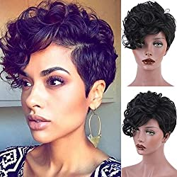 Synthetic Short Hair Wigs Pixie Cut Black Wig with Side Bang Medium Cap Size None Lace wig Color 1B