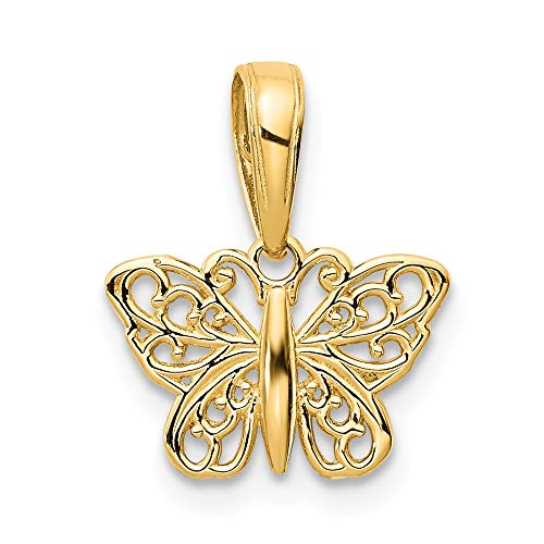 Real 14kt Yellow Gold Filigree Butterfly Charm