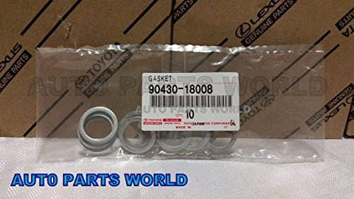 Toyota Drain Plug Gaskets for Transfer Case Set of 10 OEM 90430-18008 (Toyota Oil Drain Plug compare prices)