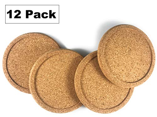 Cork Drink Coasters - Blank Reusable Absorbent Eco-friendly DIY Tile Craft Board -Protect Furniture From Damage and Water Rings Restaurant Cafe Supplies (1/3