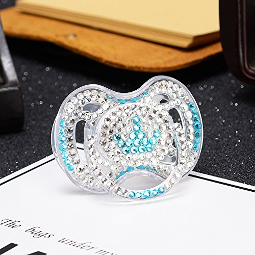 MIYOCAR bling bling blue white crystal rhinestone blue crown Baby Pacifier/ Nipples /Dummy /cocka /chupeta baby gift babyshower