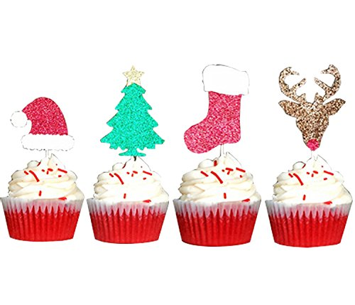 Partico 24 Pcs Christmas Glitter Cupcake Topper Food Fruit Picks Decorations for Christmas Party Favors Includ Santa Hats, Christmas Tree, Red Socks, Golden Reindeer (Topper Santa Tree Christmas Hat)