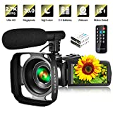 Video Camera Camcorder with Microphone & Remote 2.7K UHD 30FPS Vlogging Camera with 270° Rotation 3