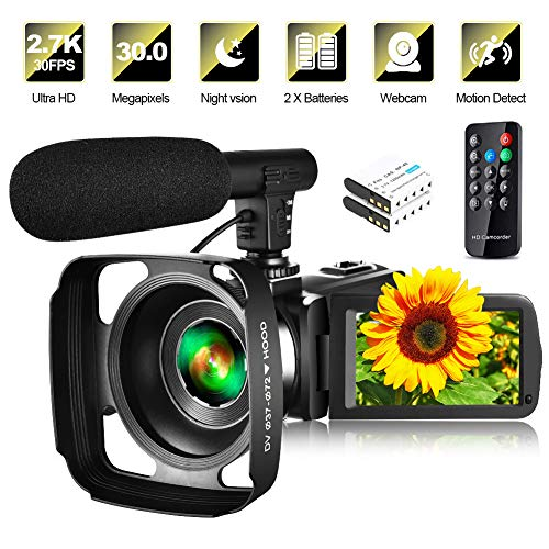 Video Camera Camcorder with Microphone & Remote 2.7K UHD 30FPS Vlogging Camera with 270° Rotation 3″ Touch Screen 30MP 16X Digital Zoom Night Vision Webcam Digital Camera for YouTube