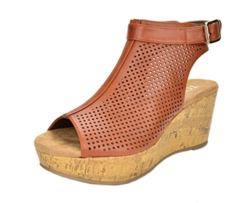 TOETOS Women's Sandro-03 Tan Pu Mid Heel Platform Wedges Sandals - 7.5 M US