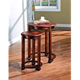 Coaster Traditional Warm Amber 2-Piece Round Nesting Table Set