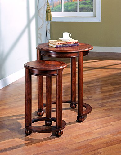 Coaster 901039 2-Piece Round Nesting Table Set, Cherry by Coaster Home Furnishings