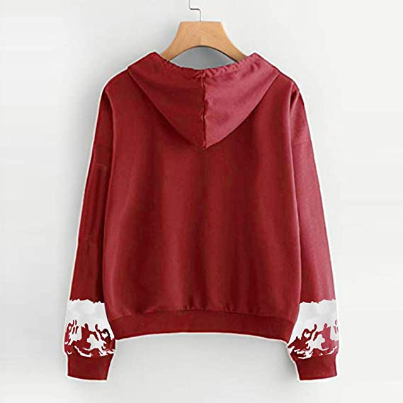FEDULK Womens Hooded Pullover Christmas Reindeer Print Ugly Sweater Blouse Xmas Ladies Tunics Jumper at Amazon Womens Clothing store: