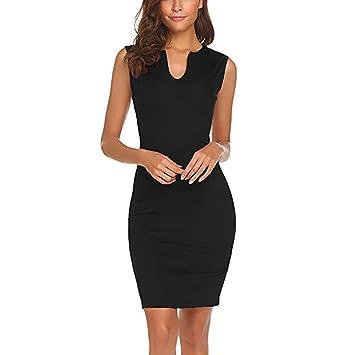 4d22834ea Vestido elegante para mujer - Saihui Vintage sin mangas cuello en V ...