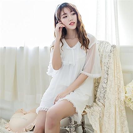 WXIN Pantalones Cortos De Algodón Tejida Short-Sleeve/Malla Mujer Pijama Señoras Encajes Home