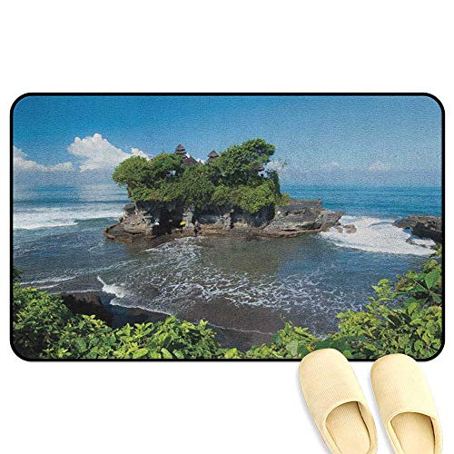 - homecoco Balinese Mat Rug Tanah Lot Temple in Bali Island Wavy Ocean Historic Architecture Heritage Picture Green Blue 3D Digital Printing Mat W31 x L47 INCH
