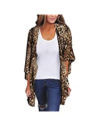 Farmerl Chiffon Shawl Leopard Print Kimono Cardigan Top Cover Up Blouse Beachwear Women