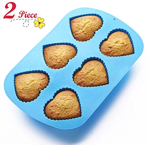 Chefaith 2 Pcs 6-Cup Silicone Muffin / Cupcake Baking Pan [Heart-Shaped Baking Cups] - Non-Stick, Heat Resistant (Up to 480°F) Mini Cake Baking Mold / Tray, Food Grade Reusable Bakeware, Blue (Heart Cupcake Pan compare prices)