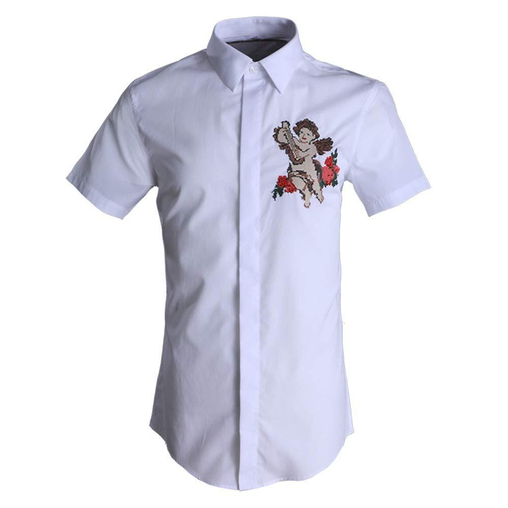 Blanc grand Chemise décontractée pour hommes Chemises habillées à hommeches courtes à coupe ajustée pour hommes Col chemise boutonnée Chemise 3D impression numérique Chemise en coton solide Chemise de