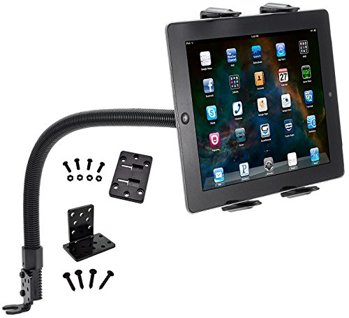 Tablet Mount for Car and Truck - TACKFORM [ELD Mount] Industrial 22 Inch Gooseneck Seat Rail Device Holder for Taxi, Van, Vehicle, Semi. Cradle for all devices including iPad, Galaxy, Surface Pro … (Trucks 3 Rail)