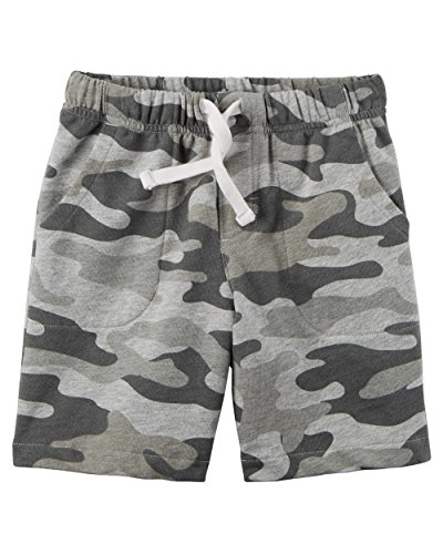 Carter's Little Boys' Pull-On French Terry Shorts (12 Months, Grey Camo)