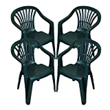 CrazyGadget Plastic Garden Low Back Chair Stackable Patio Outdoor Party Seat Chairs Picnic Green Pack of 4 (X4)