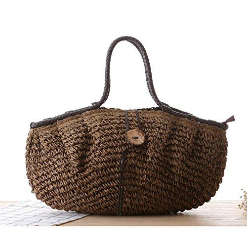 Straw Bag Large Weave Capacity Bag Women Coffee Amuele Shoulder Handbag w1q6nYR