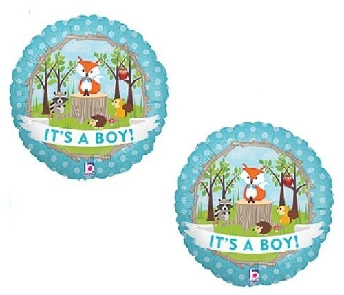 (LoonBalloon Fox Woodland Animals It's a BOY Welcome Baby Shower (2) 18