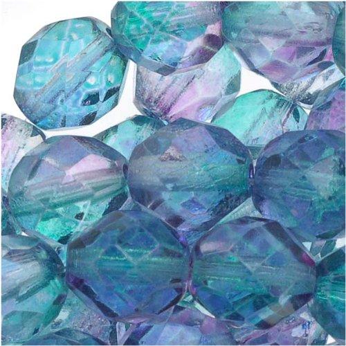 Round 8mm Beads 25 (Jablonex Czech Fire Polished Glass Beads 8mm Round Two Tone Purple/Blue (25))