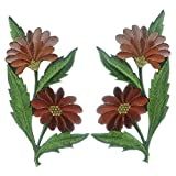 Daisies pair flowers floral bouquet boho embroidered appliques iron-on patches new (Light Brown)
