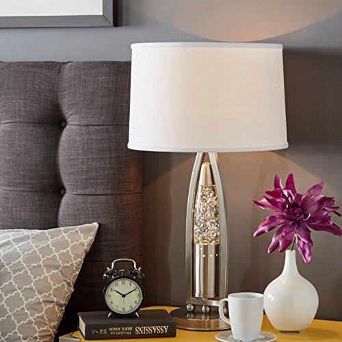 Modern Metal Dancing Water Rocket Shaped Table Lamp with White Drum Shade - Includes Modhaus Living Pen