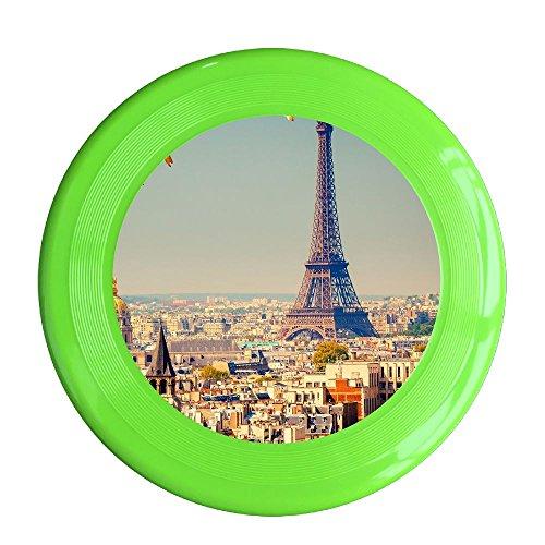 France Paris Eiffel Tower Pet's Safe Plastic Frisbee Flying Saucer Flying Disc Sport Disc Fun Flyer Frisbee KellyGreen (France Saucer)