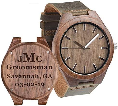 Groomsmen Watches Custom Engraved Wooden Watches for Men Husband Boyfriend Wood Watch for Wedding Anniversary Watches for Men