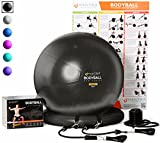 Exercise Ball Chair – 65cm & 75cm Yoga Fitness Pilates Ball & Stability Base for Home Gym & Office – Resistance Bands, Workout Poster & Pump. Improves Balance, Core Strength & Posture – Men & Women