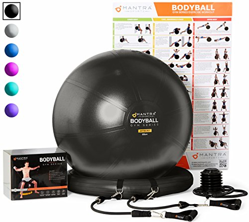 Price comparison product image Exercise Ball Chair - 65cm & 75cm Yoga Fitness Pilates Ball & Stability Base for Home Gym & Office - Resistance Bands,  Workout Poster & Pump. Improves Balance,  Core Strength & Posture - Men & Women