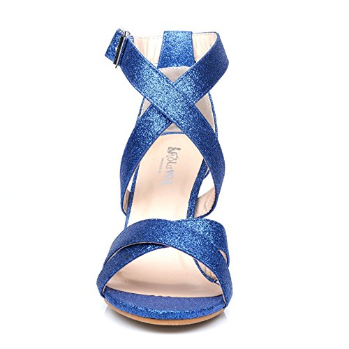 ShuWish UK Sophie Blue Glitter Elegant Strappy High Heel Sandals VZ3MiNnpQn