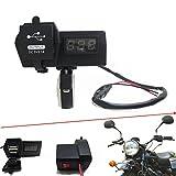 UXOXAS 12V-24V Waterproof Motorcle Car Dual USB Charger with LED Digital Voltmeter Handbar Mount