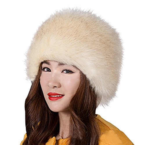Kafeimali Women's Faux Fox Fur Russian Cossack Ski Christmas Caps Cable Knit Beanie (Beige)