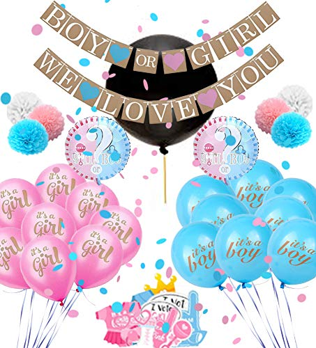 Baby Gender Reveal Party Supplies: Boy or Girl Decorations Kit with Banner, Reveal Balloon, Confetti, Pink and Blue Balloons, Pom Poms and Photo Props - Gender Reveal Ideas and Party Decor - 60 Pieces