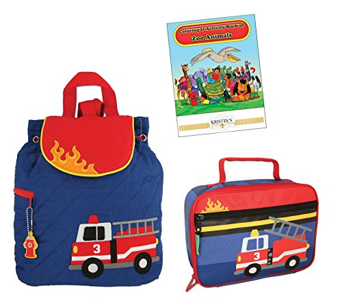 (Stephen Joseph Quilted Backpack, Lunch Box, and Coloring Book Set, Firetruck)
