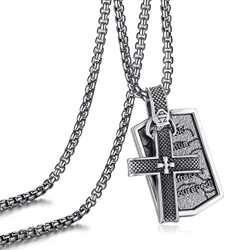 - EVBEA Cross Necklace for Men Black Dog Tag with Bible Verse Serenity Prayer Mens Jewelry Inspirational Gifts for Women and Men