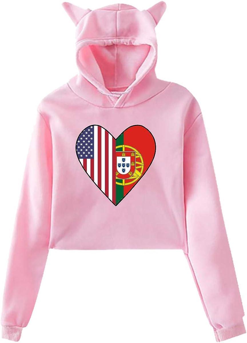 Girls Short Hoodies Crop Top,Half Portugal Flag Half USA Flag Love Heart Cat Ear Long Sleeve Pullover Hoodie