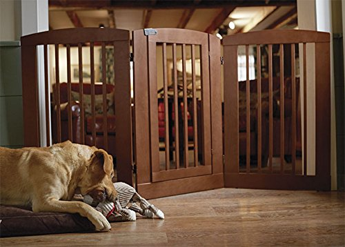 Orvis Three-panel Dog Gate With Door / 36''h Gate, Cinnamon by Orvis