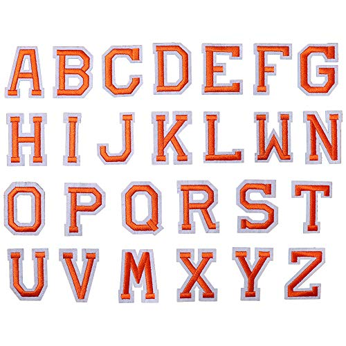 J.CARP 26Pcs Orange Alphabet A to Z Patches, Iron on Sew on Letters for Clothing, Hats, Shoes, Backpacks, Handbags, Jeans, Jackets etc.