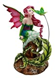 """Atlantic Collectibles Amy Brown Magenta Forest Fairy With Flirting Hummingbird Figurine 6""""H"""