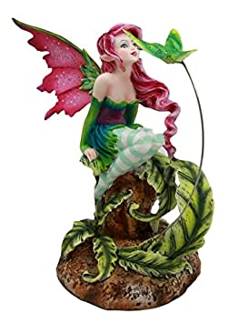 Atlantic Collectibles Amy Brown Magenta Forest Fairy With Flirting Hummingbird Figurine 6 H